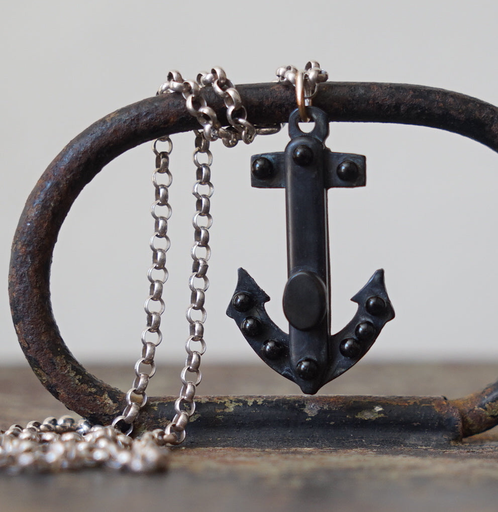 Whitby Jet Anchor. Silver vintage chain, Whitby Jet anchor and silver chain.