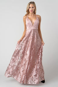 Rose Gold Burn Out Velvet Formal Gown