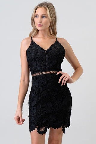 Lace Dress with Uneven Hem
