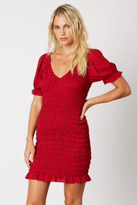 Rouched Dress with Puff Sleeve