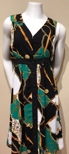 Green & Gold Print Dress