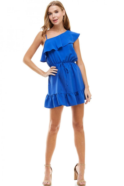 One Shoulder Ruffle Hem