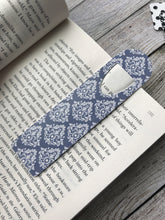 Blue and White Damask Bookmark in Book