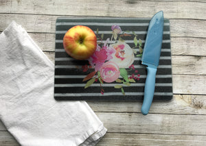 Apple on Floral Cutting Board