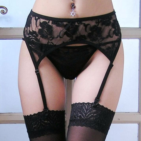 Black Lace G-String Lingerie Set