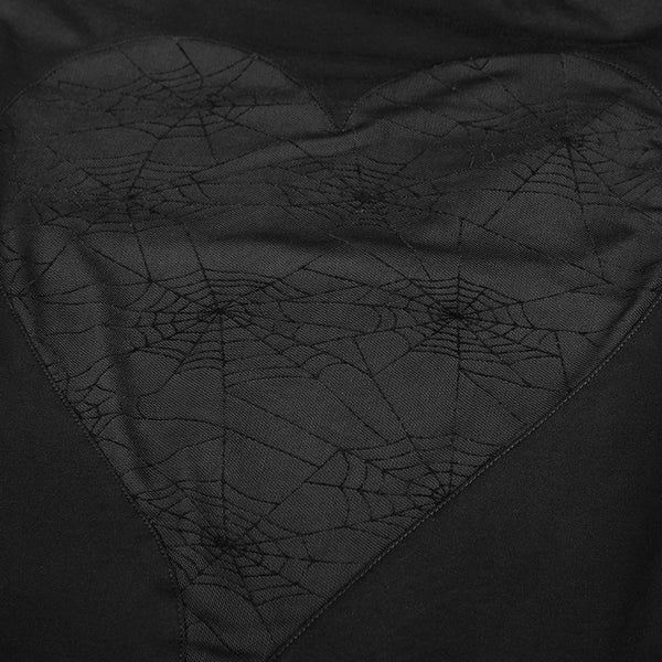 PUNK RAVE Hollow Heart Spider Web Back Long Sleeves