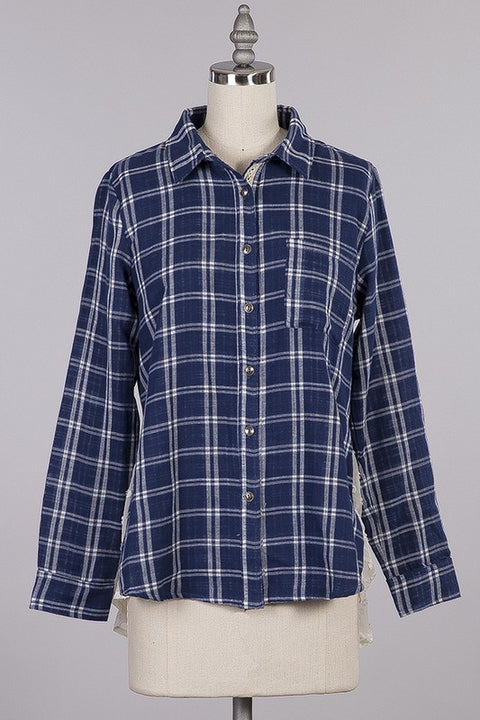 New School Lace Plaid Top