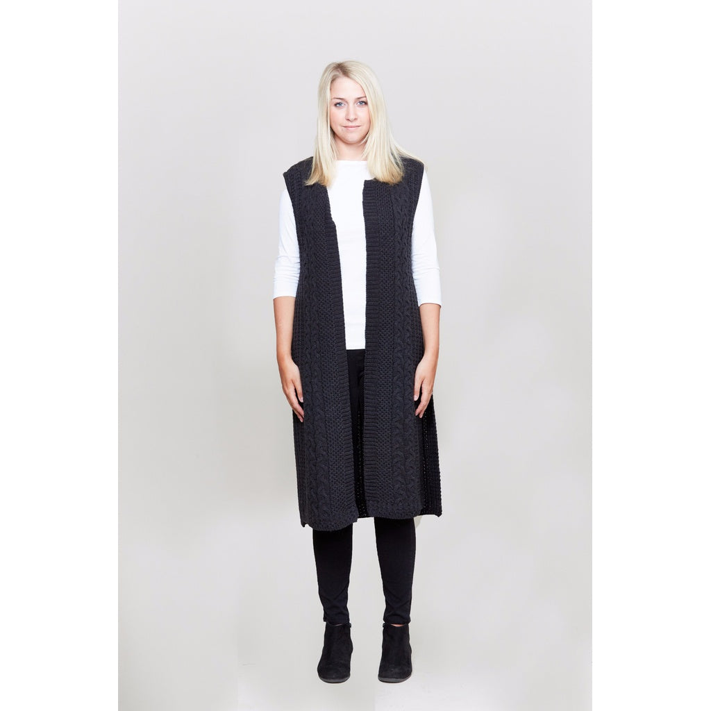 Cable Knit Long Vest