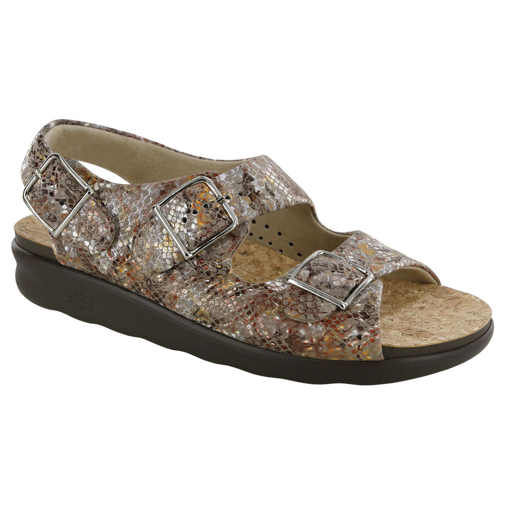 SAS Relaxed Sandal in Multisnake Taupe Leather at Mar-Lou Shoes