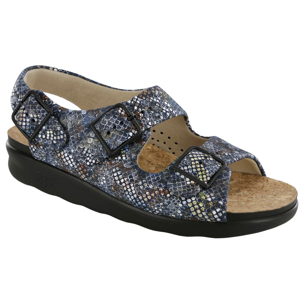 SAS Relaxed Sandal in Multisnake Navy Leather at Mar-Lou Shoes