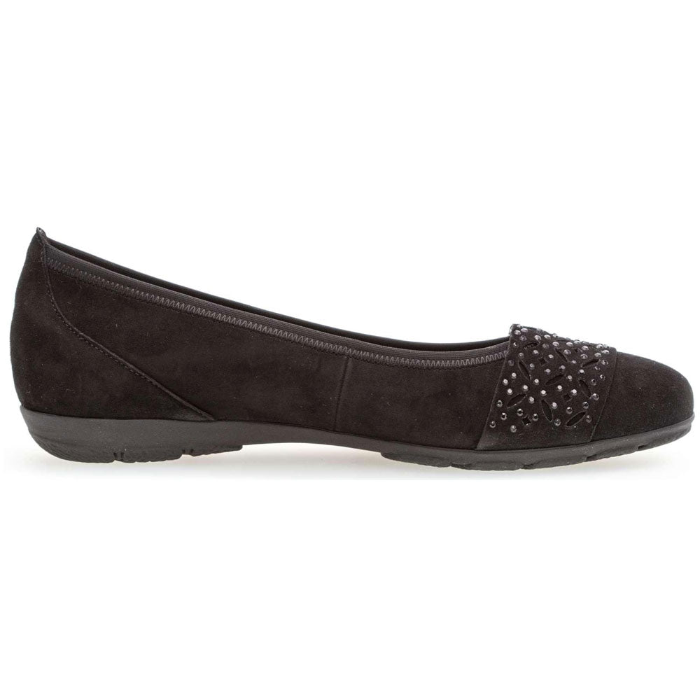 Gabor 34160 Embelleshed Ballet Flat in Black Nubuck at Mar-Lou Shoes