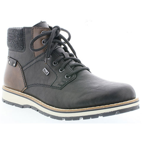 Rieker 38434 Chukka Water-Resistant Boot in Black/Brown Combi Leather at Mar-Lou Shoes