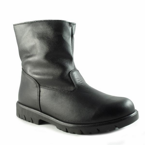 Track Boot in Black Leather
