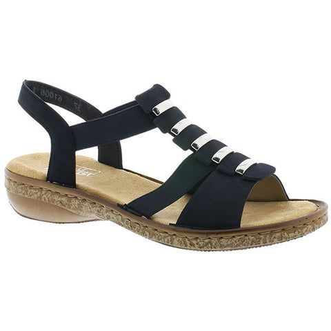 Rieker 62850 Sandal in Navy at Mar-Lou Shoes