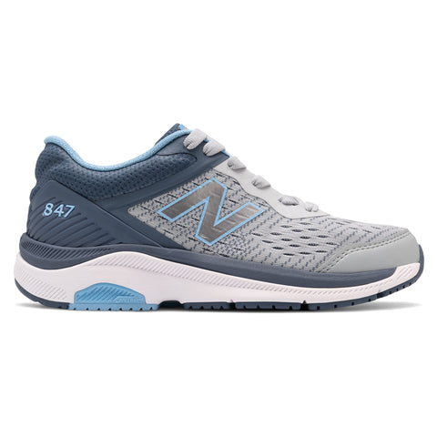 New Balance Women's 847v4 Walking Shoe Light Aluminum with Vintage Indigo & Team Carolina at Mar-Lou Shoes