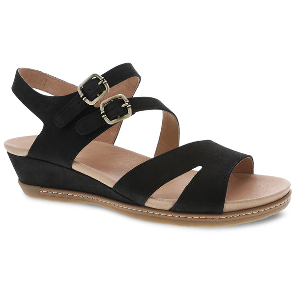 Dansko Angela Sandal in Black Nubuck at Mar-Lou Shoes