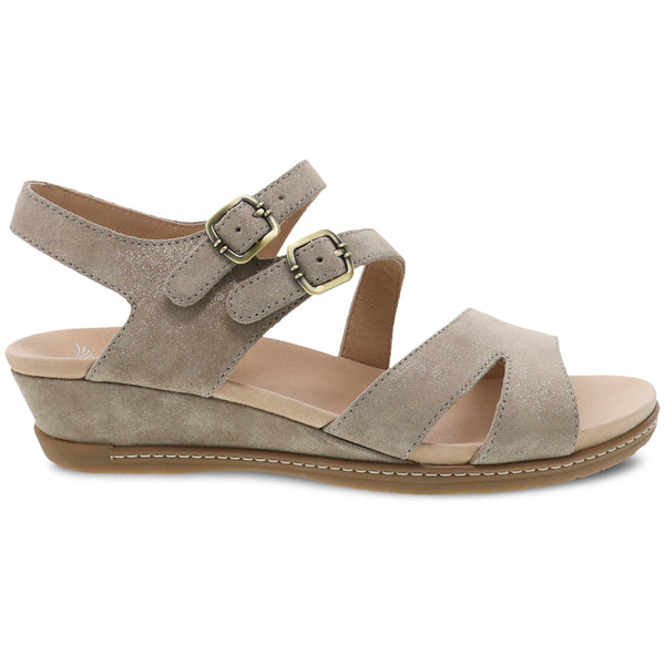 Dansko Angela Sandal in Sand Metallic Nubuck at Mar-Lou Shoes