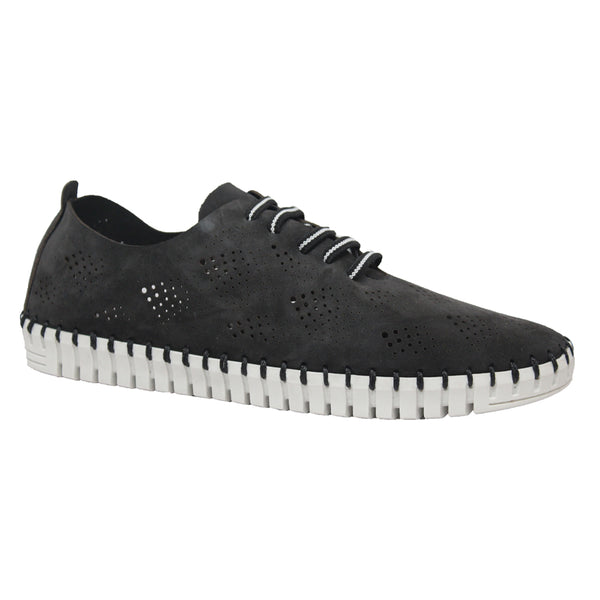 Eric Michael Annie Lace Up Black Nubuck at Mar-Lou Shoes