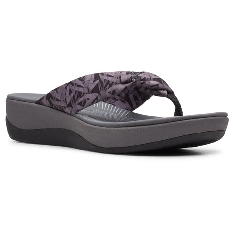 Clarks Arla Glison Sandal in Black Grey Floral at Mar-Lou Shoes