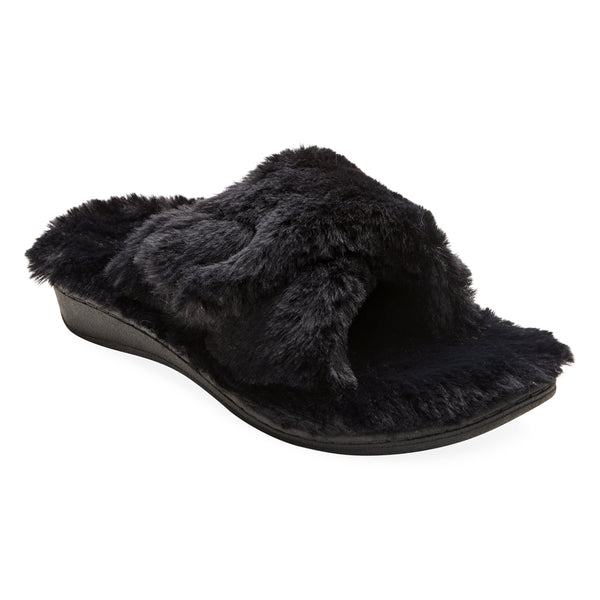 Relax Plush in Black Faux Fur