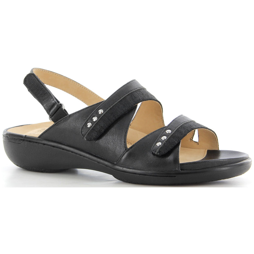 Ziera Bizzy Sandal in Black Bilboa Leather at Mar-Lou Shoes