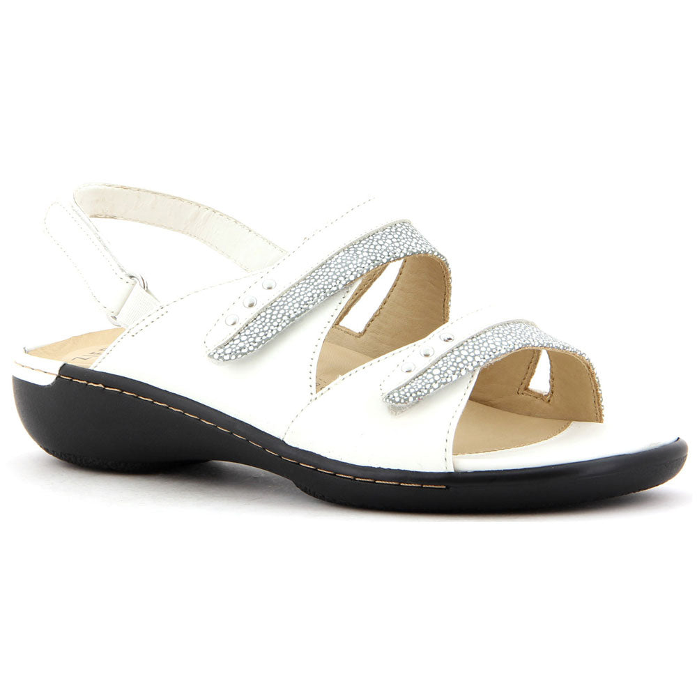 Bizzy Sandal in White Stingray Leather
