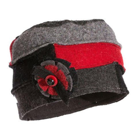 Baabaazuzu Women's Cloche Hat Black/Red/Grey | Mar-Lou Shoes