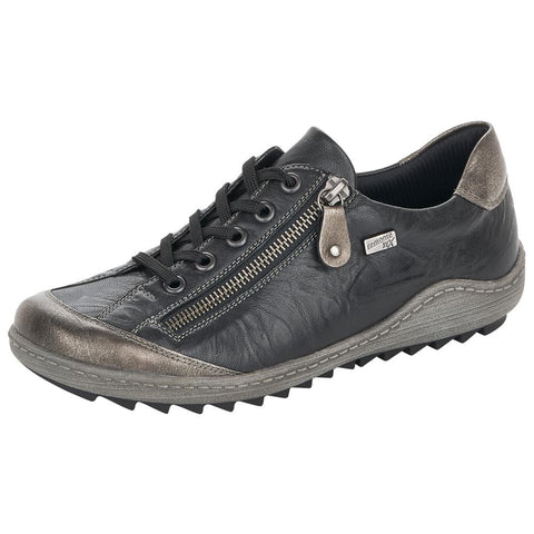 Remonte Women's R1402-01 Lace Up Black Metallic | Mar-Lou Shoes