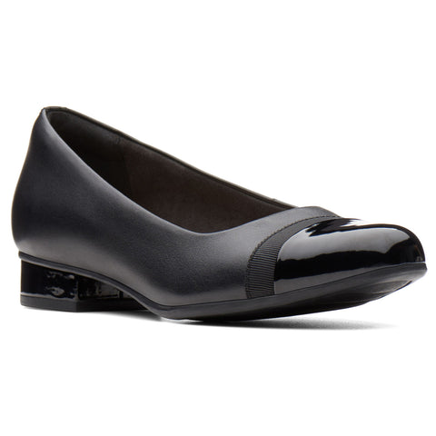 Clarks Juliet Monte Slip-On Black Leather at Mar-Lou Shoes