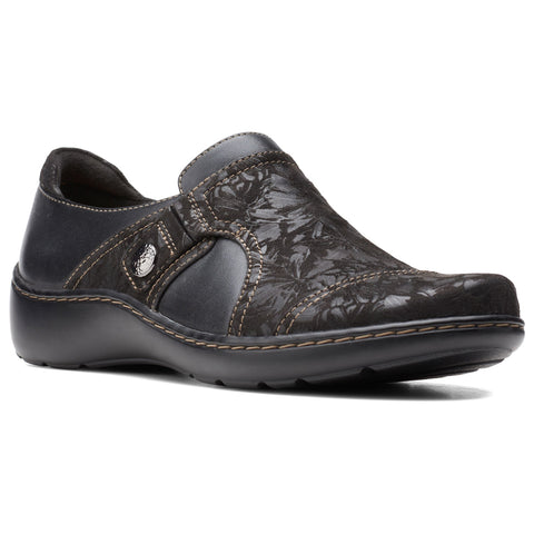 Clarks Cora Poppy Slip-On Black at Mar-Lou Shoes