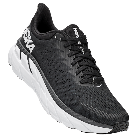 HOKA ONE ONE Men's Clifton 7 Black/White at Mar-Lou Shoes
