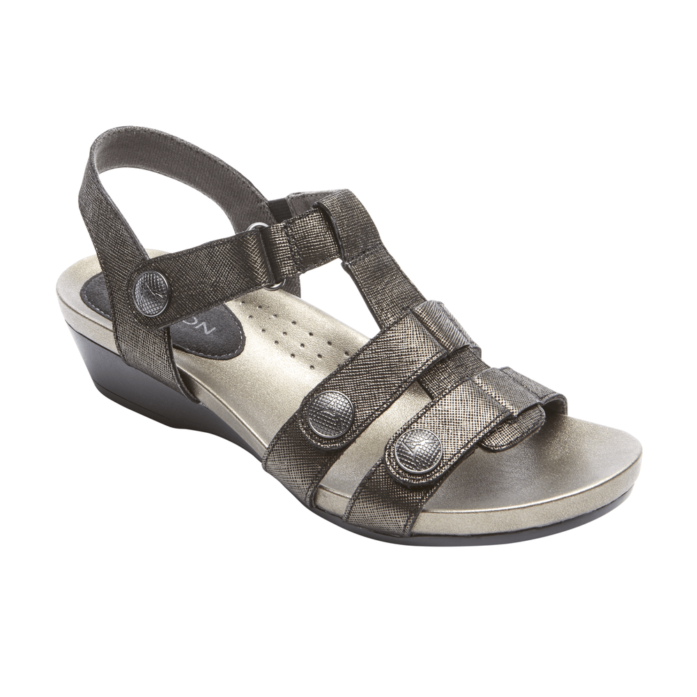 Aravon Standon Tbar Sandal in Black Leather at Mar-Lou Shoes