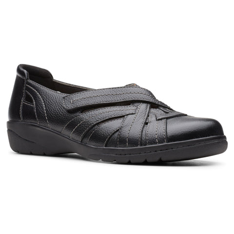 Clarks Cheyn Tulip in Black Leather at Mar-Lou Shoes