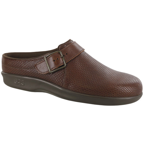 SAS Clog in Woven Brown Leather at Mar-Lou Shoes