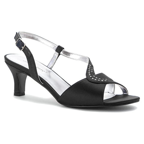 David Tate Crescent Heel Black Satin at Mar-Lou Shoes