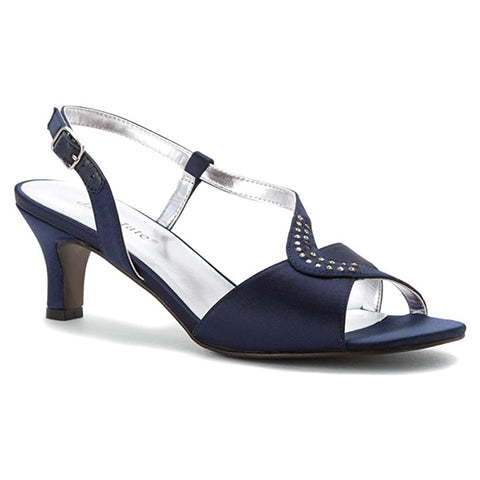 David Tate Crescent Heel Navy Satin at Mar-Lou Shoes