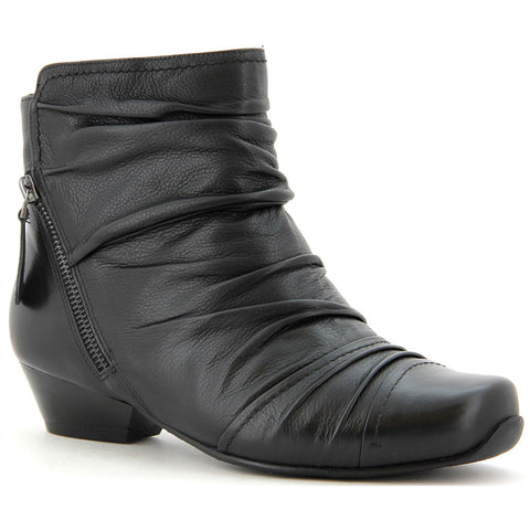 Ziera Crystal Ankle Boot in Black Leather at Mar-Lou Shoes
