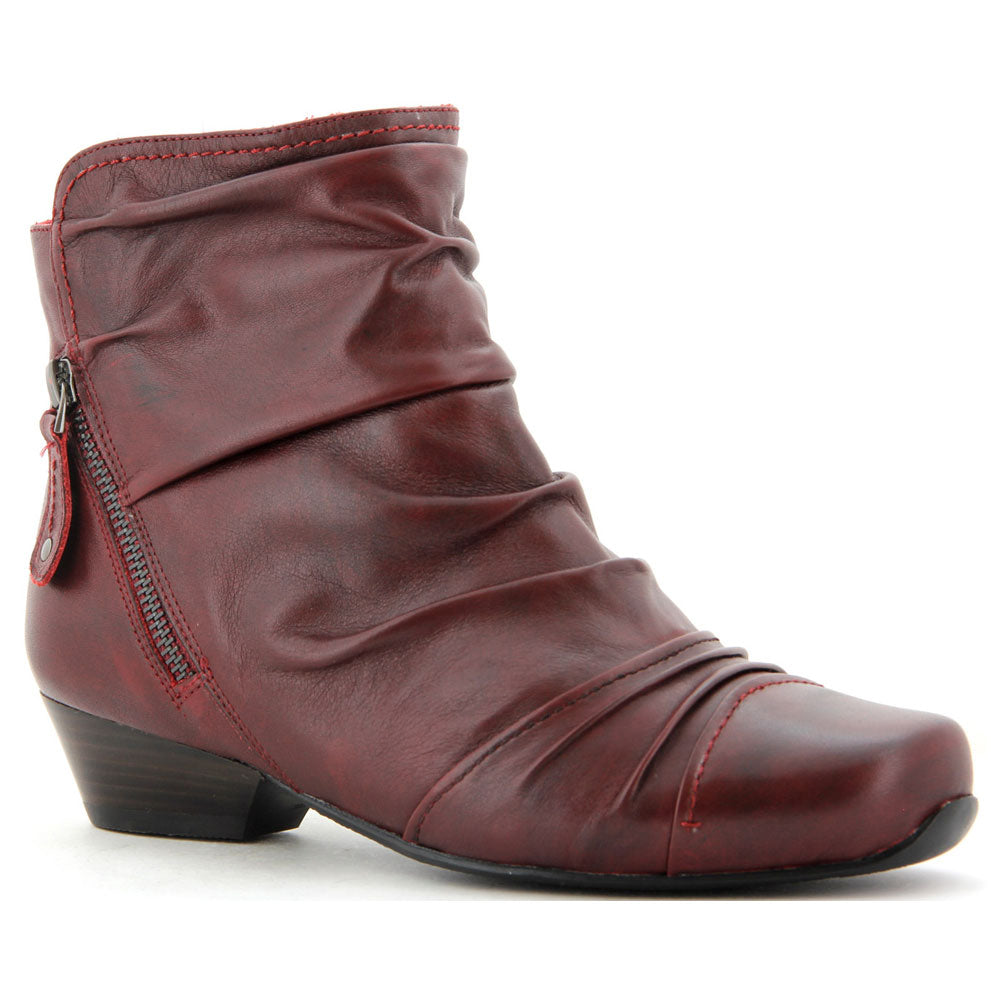 Crystal Ankle Boot in Dark Red Leather