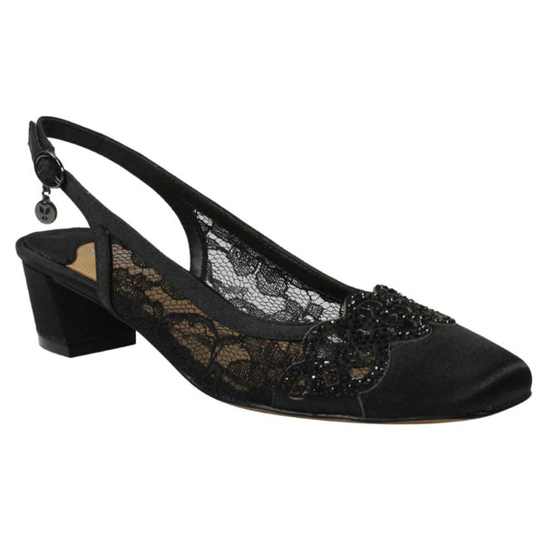 J. Renee Faleece Heel in Black Lace at Mar-Lou Shoes