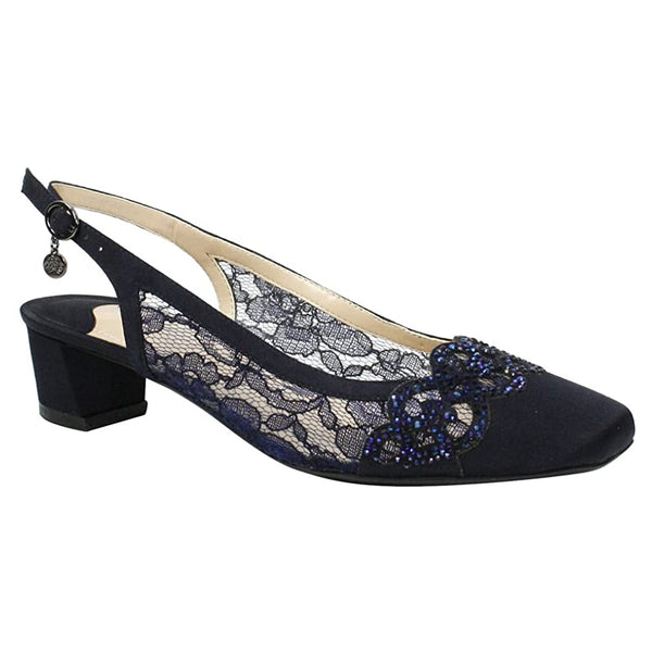 J. Renee Faleece Heel in Navy Lace at Mar-Lou Shoes