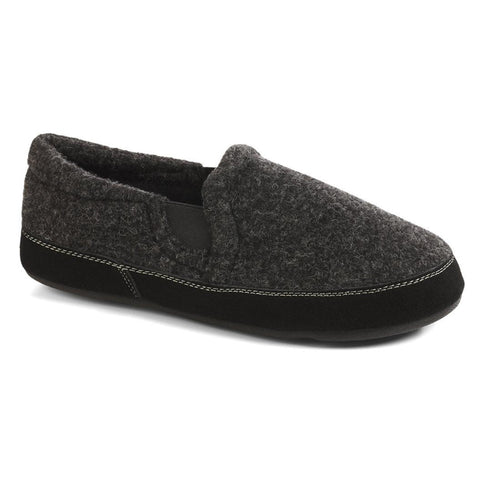 Acorn Fave Gore Slipper Black Black Tweed at Mar-Lou Shoes
