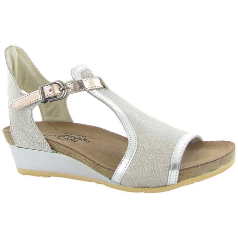 Naot Fiona Sandal in Beige/Sliver Leather at Mar-Lou Shoes