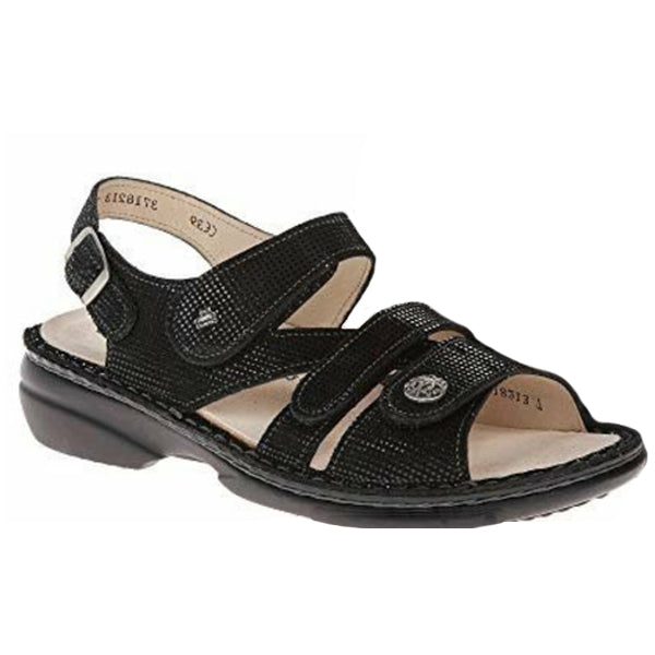 Finn Comfort Gomera Sandal in Black Prints at Mar-Lou Shoes