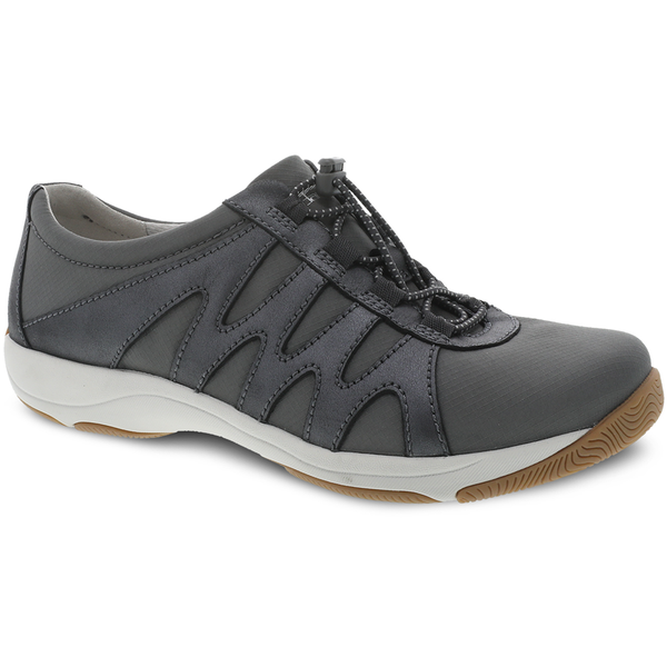 Dansko Harlie in Charcoal Metallic Suede at Mar-Lou Shoes