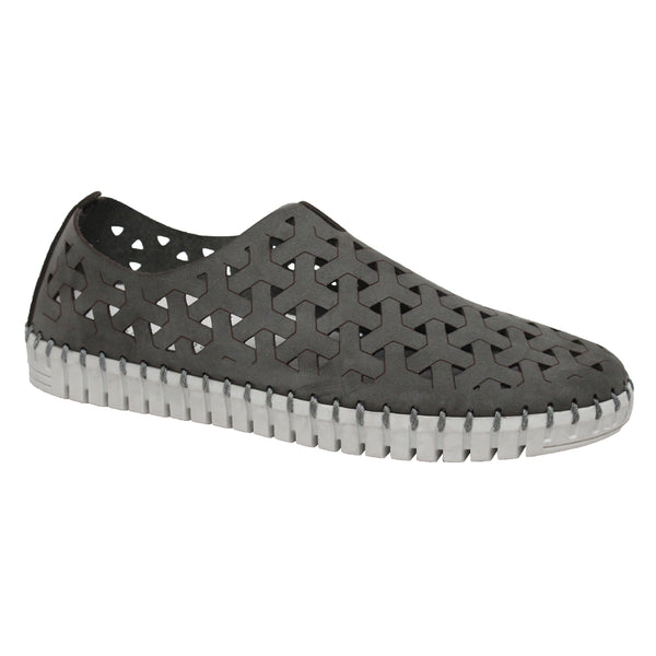Eric Michael Inez Slip-On Grey Nubuck at Mar-Lou Shoes
