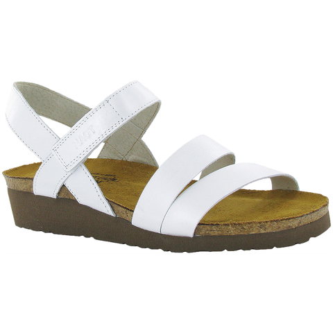 Naot Kayla Sandal in White Pearl Leather at Mar-Lou Shoes
