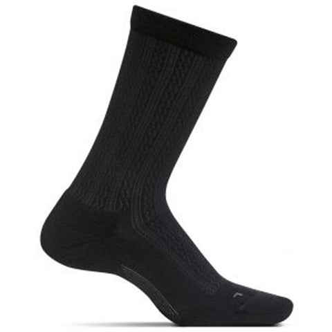 Women's Texture Cushion Crew Socks in Black