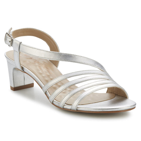 Walking Cradles Lettie Slingback Heel in Bright Silver Soft Metallic at Mar-Lou Shoes