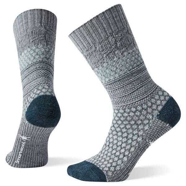 Smartwool Women's Popcorn Cable Crew Socks Lunar Grey | Mar-Lou Shoes