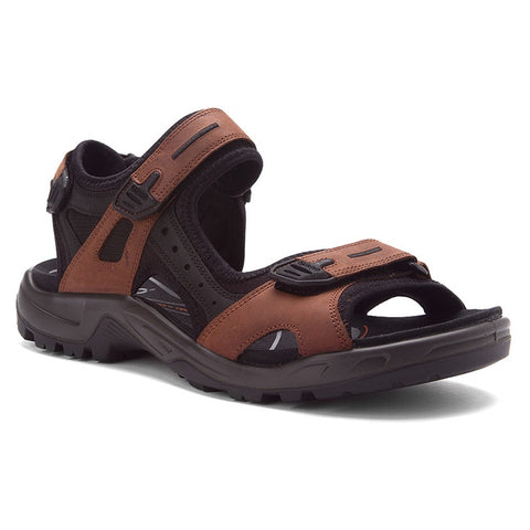 ECCO Men's Yucatan Sandal in Bison/Black/Black Oil Nubuck at Mar-Lou Shoes